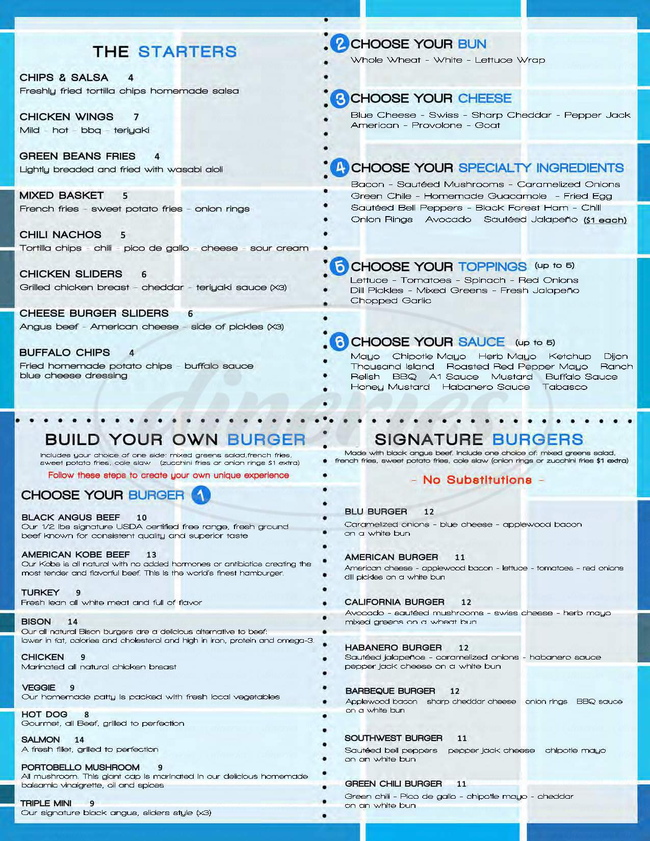 menu for Blu Burger Grille