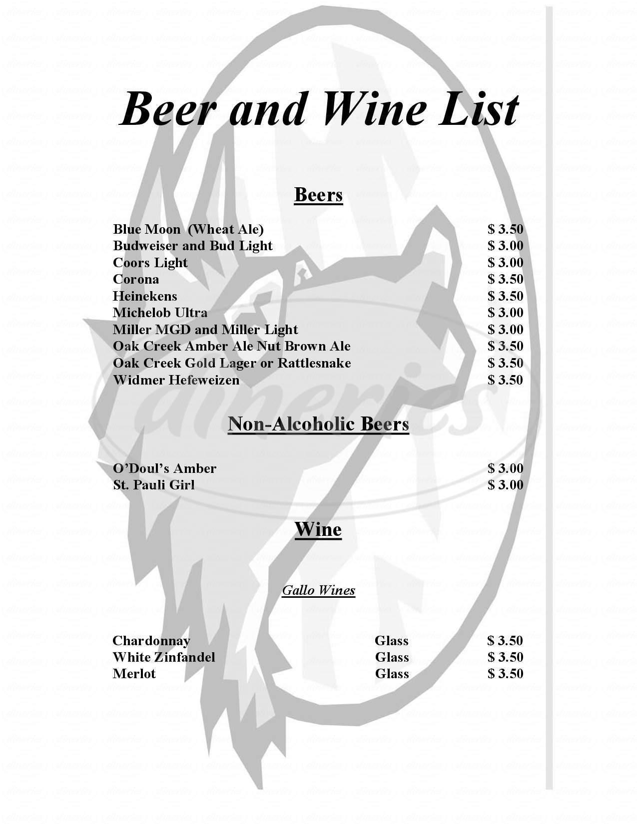 menu for Blue Moon Cafe