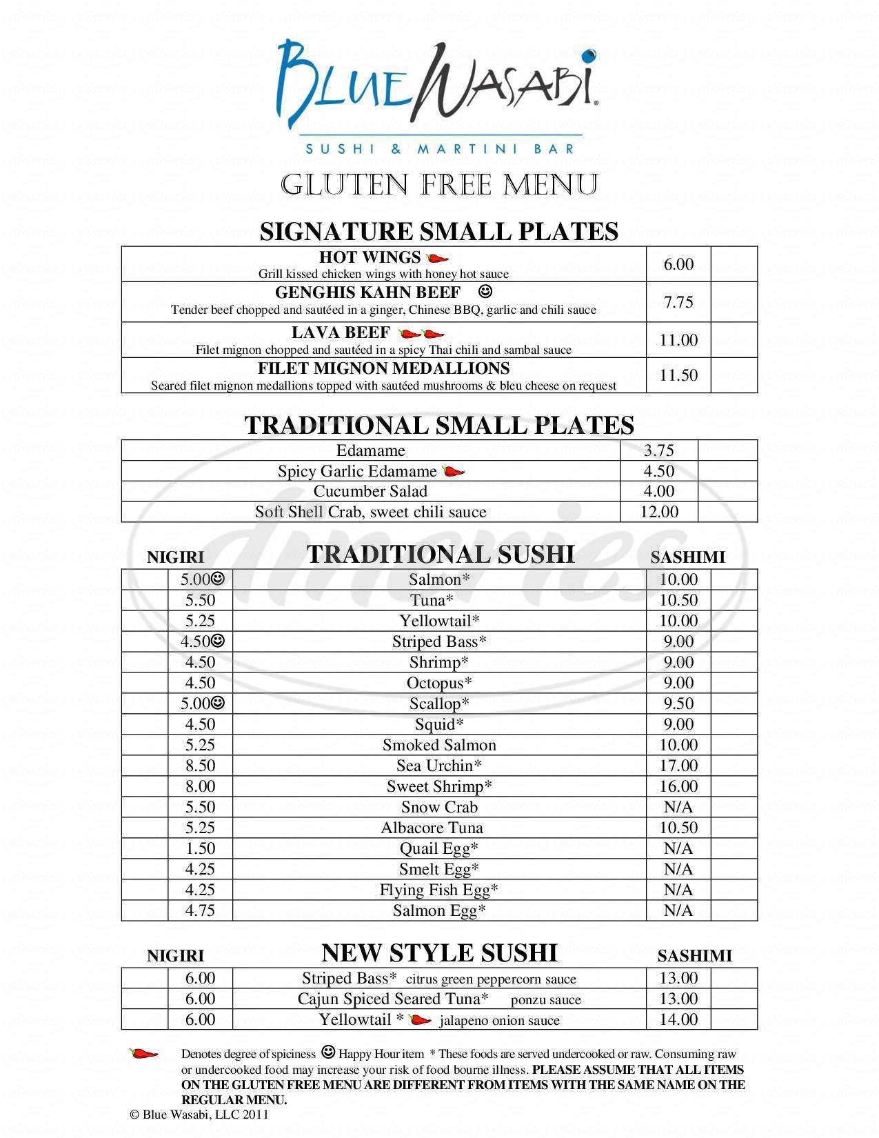 menu for Blue Wasabi Sushi & Martini Bar
