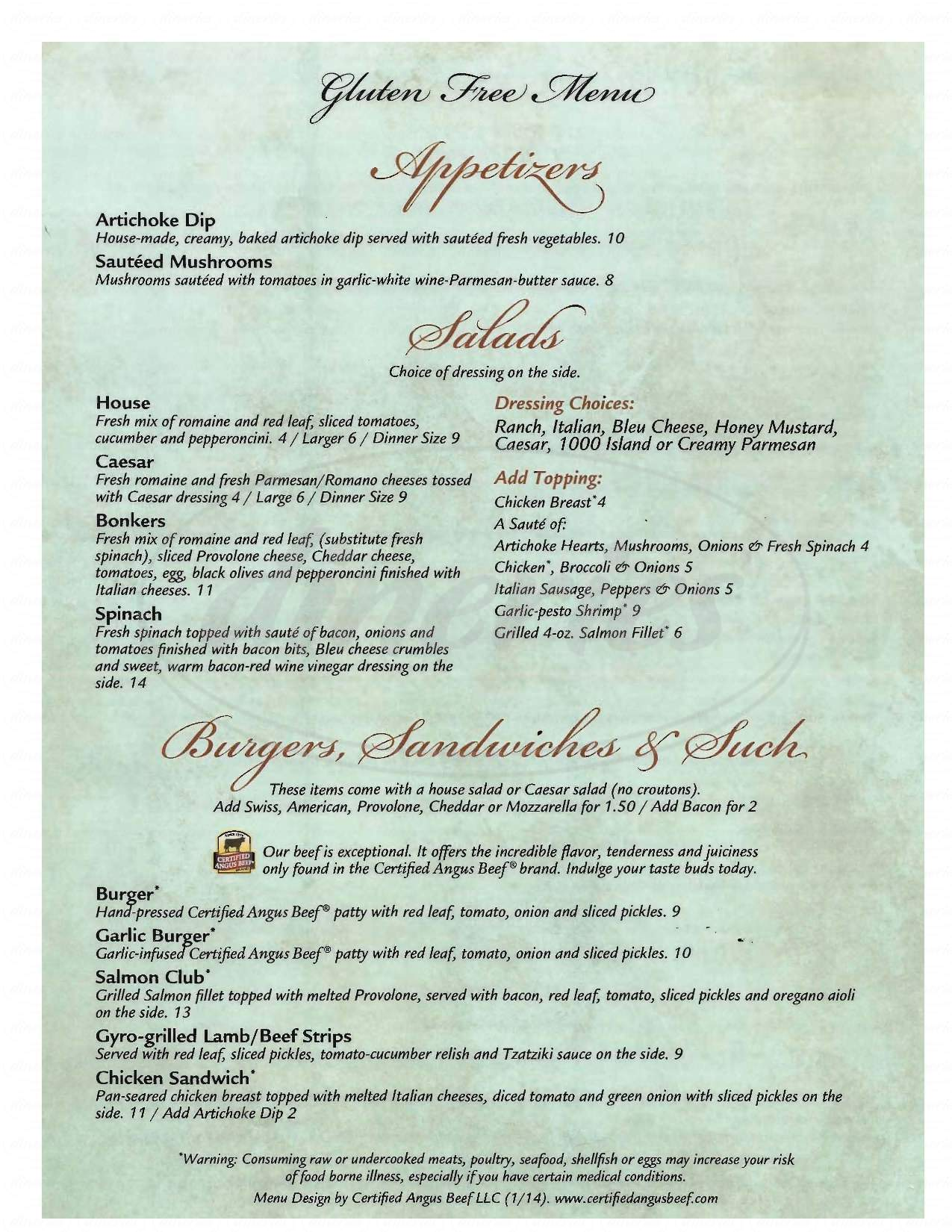 menu for Bonkers Restaurant