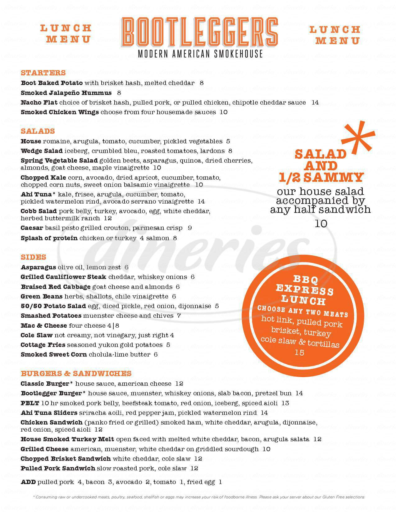 menu for Bootleggers Modern American Smokehouse