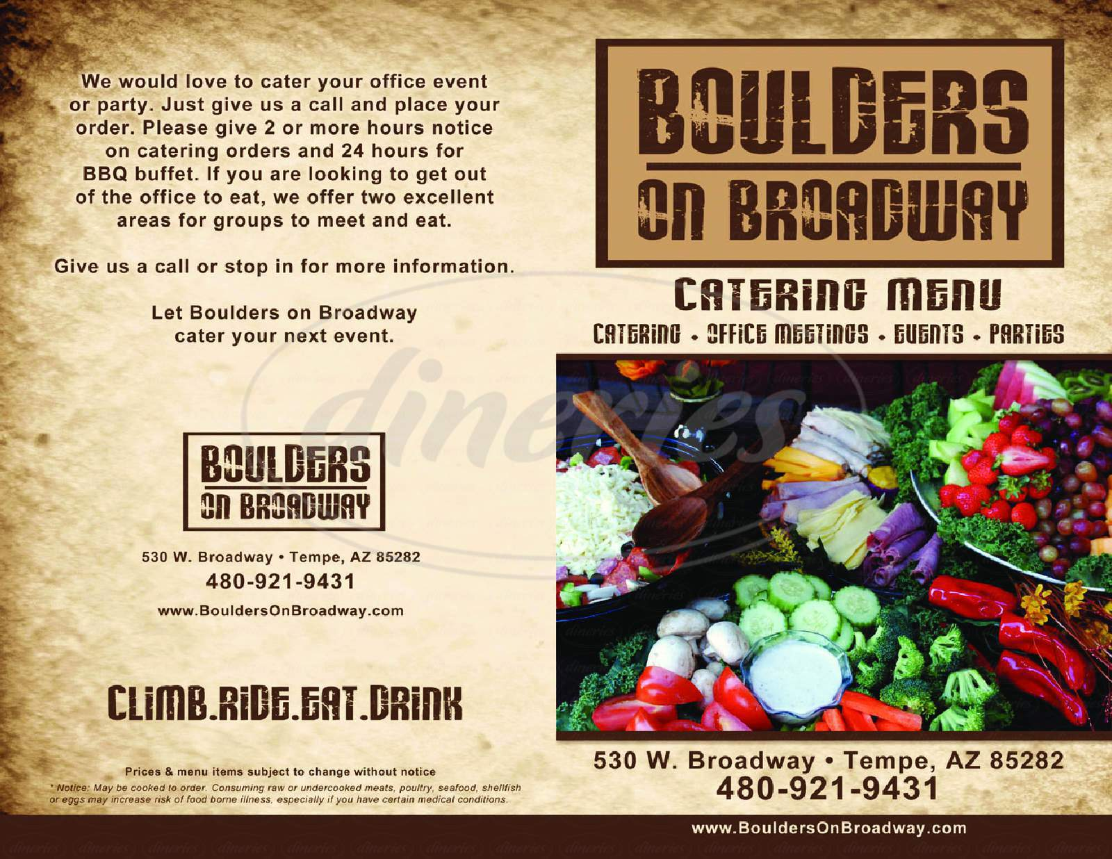 menu for Boulders On Broadway