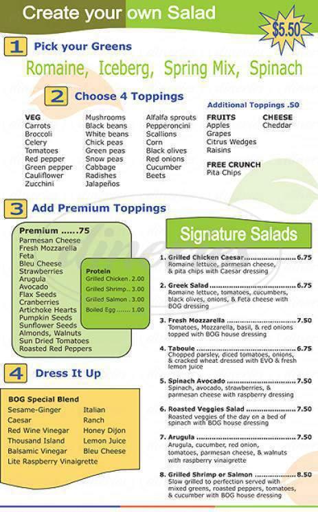 menu for Bowl of Greens