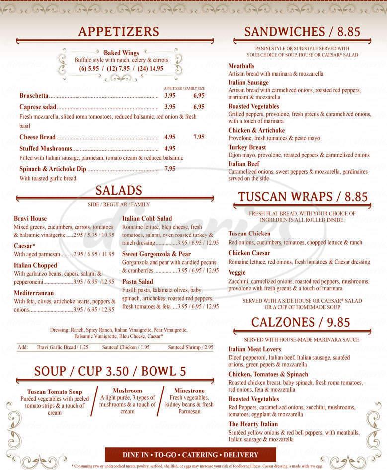 menu for Bravi Tuscan Kitchen