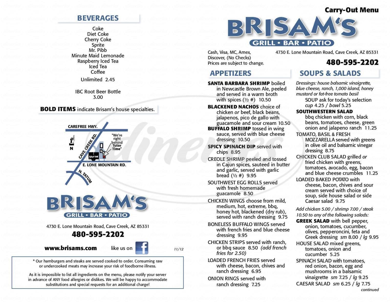 menu for Brisam's