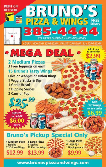 menu for Brunos Pizza