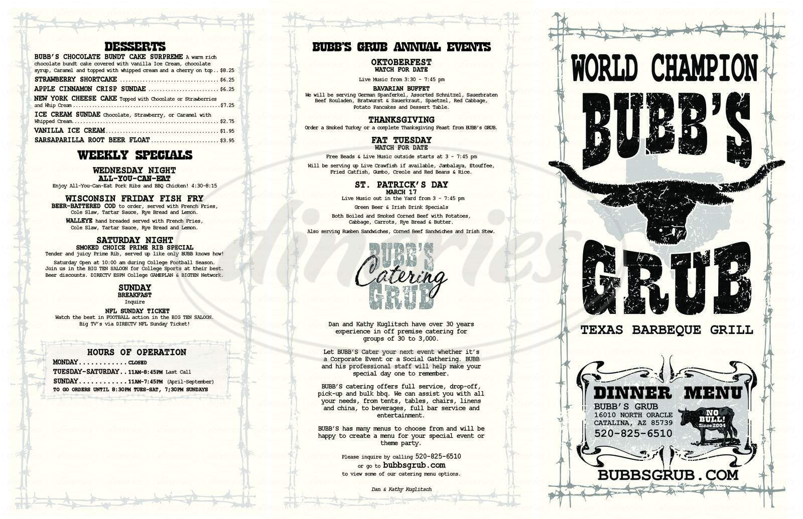 menu for Bubb's Grub