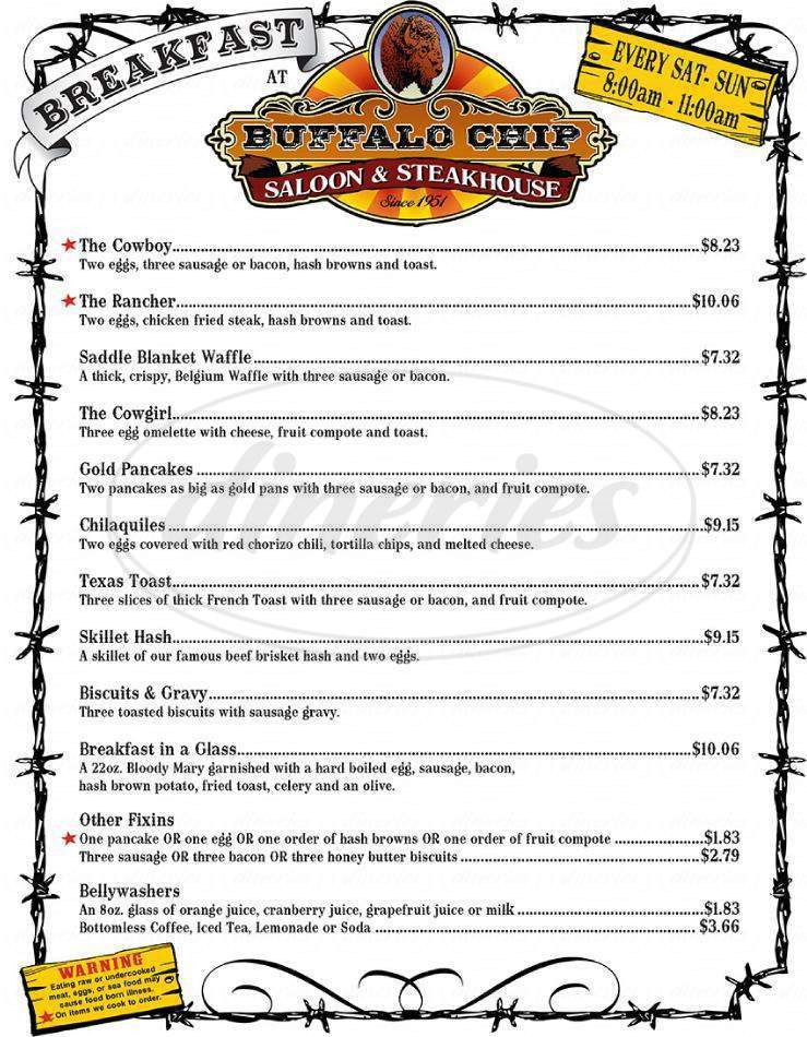 menu for Buffalo Chip Saloon and Steakhouse