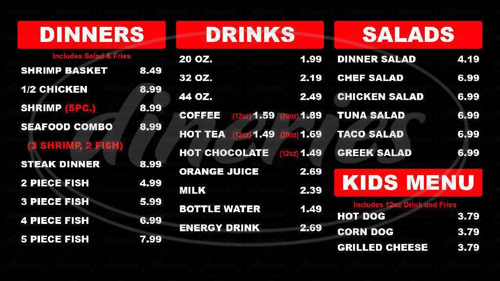 menu for Burger Shoppe