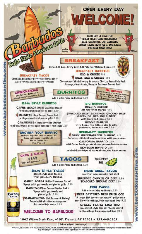 menu for Barbudo's Burrito Company