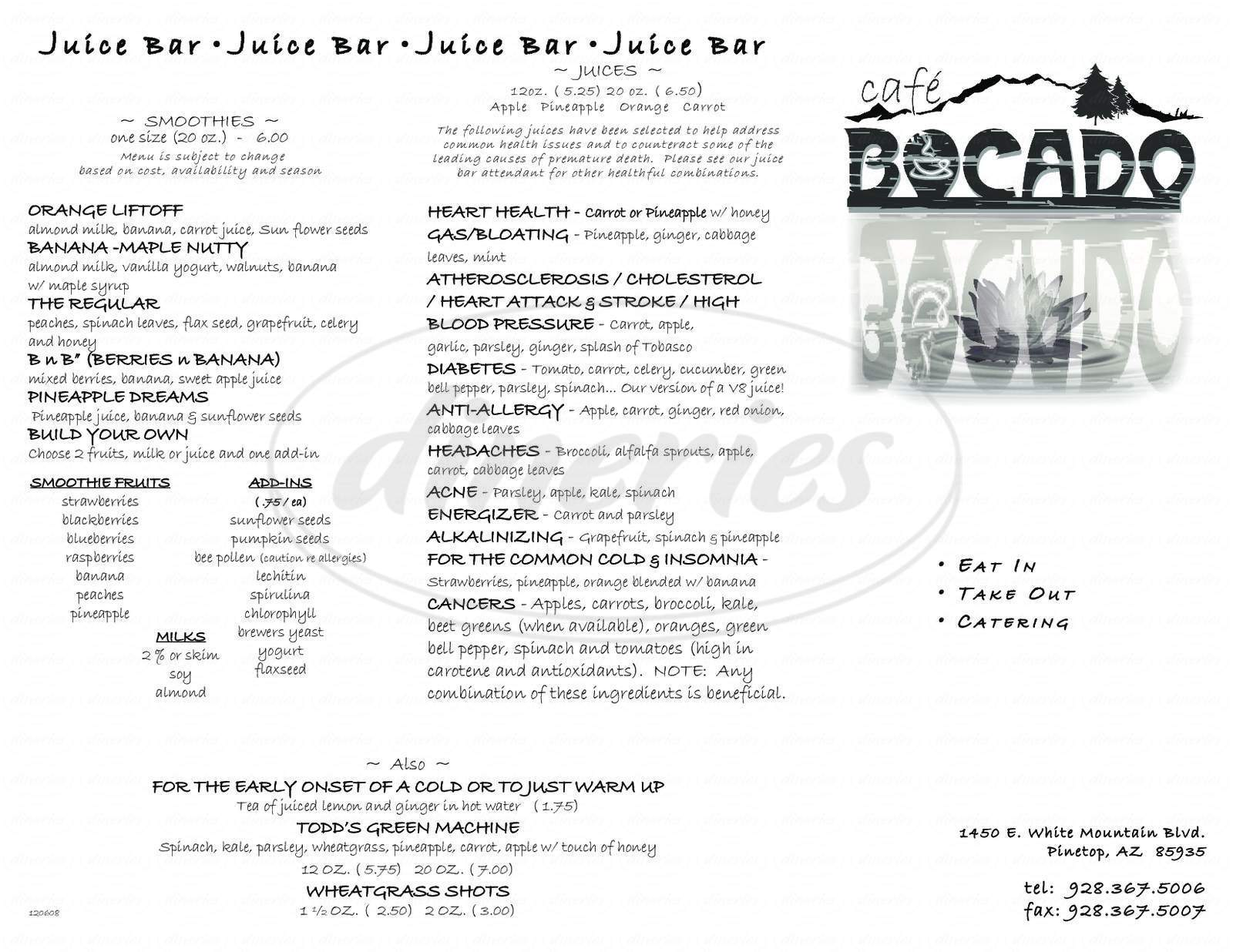 menu for Cafe Bocado