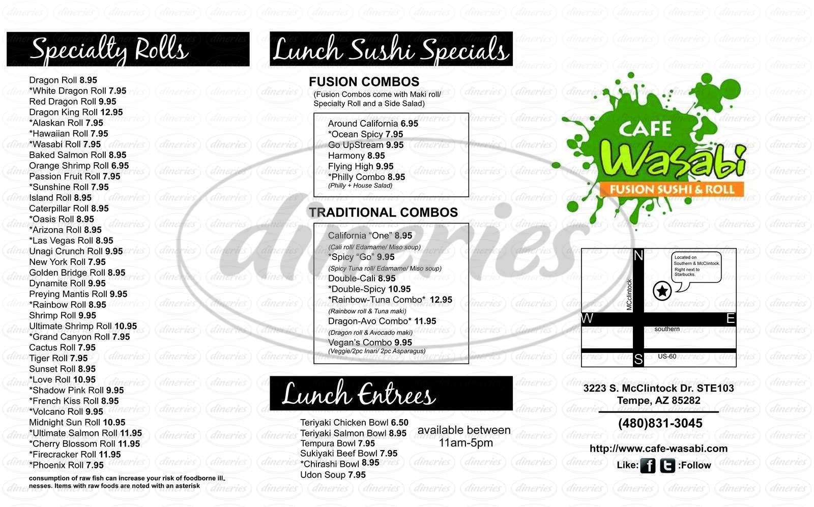 menu for Cafe Wasabi
