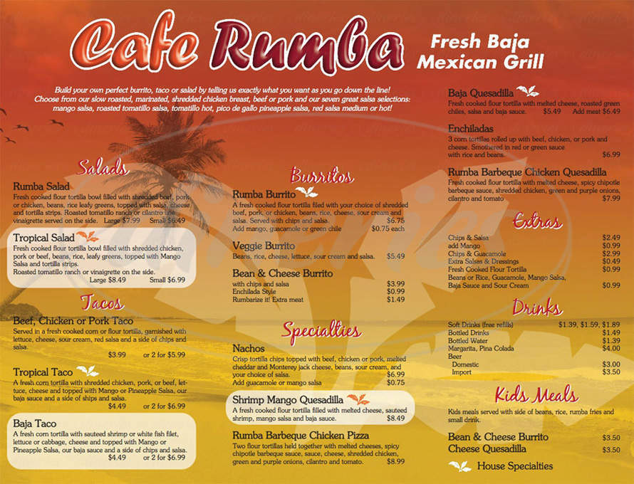 menu for Cafe Rumba