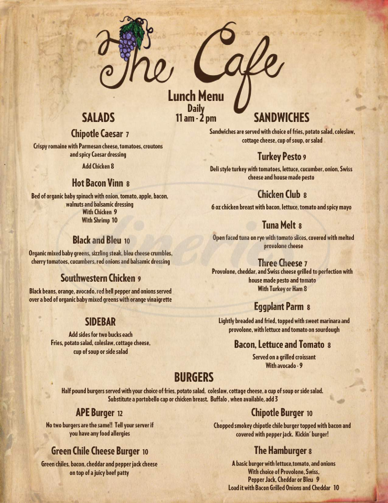 menu for The Cafe