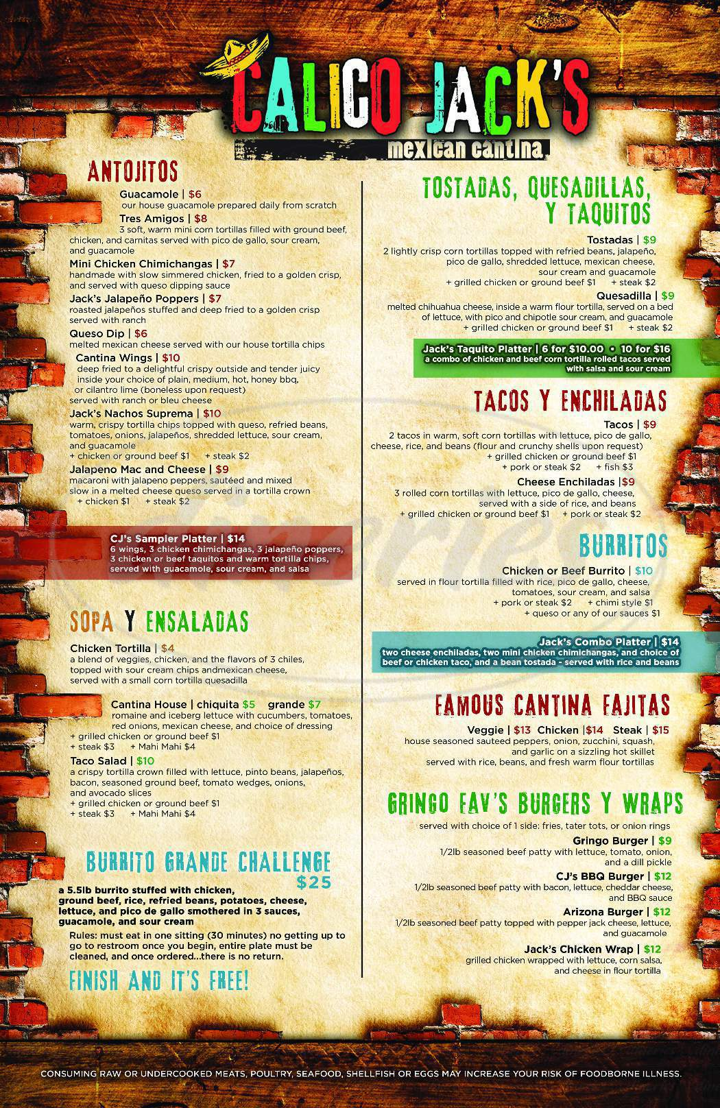 menu for Calico Jack's