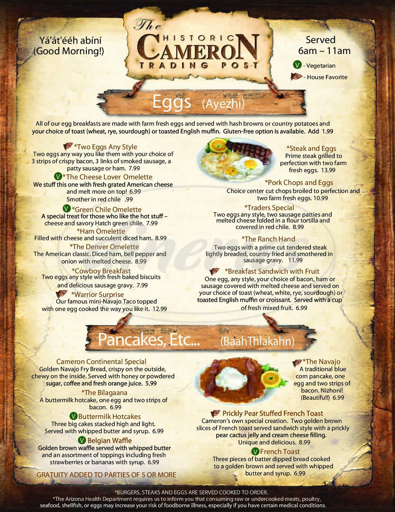 menu for Cameron Trading Post