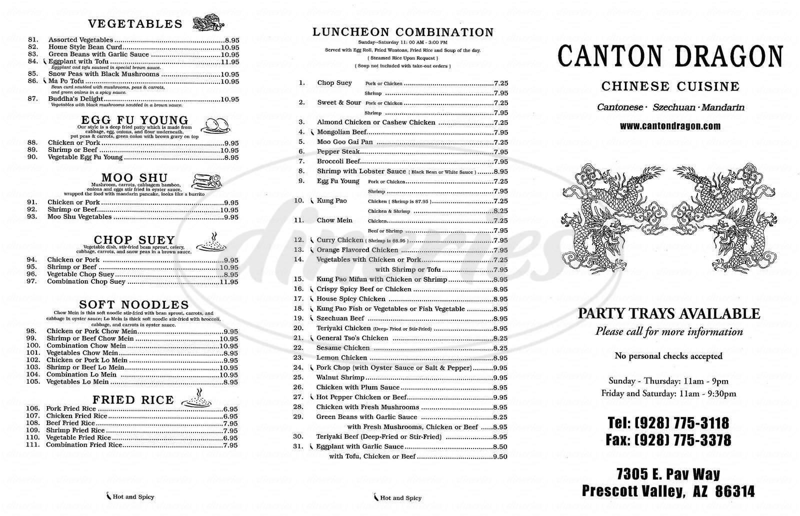 menu for Canton Dragon #2