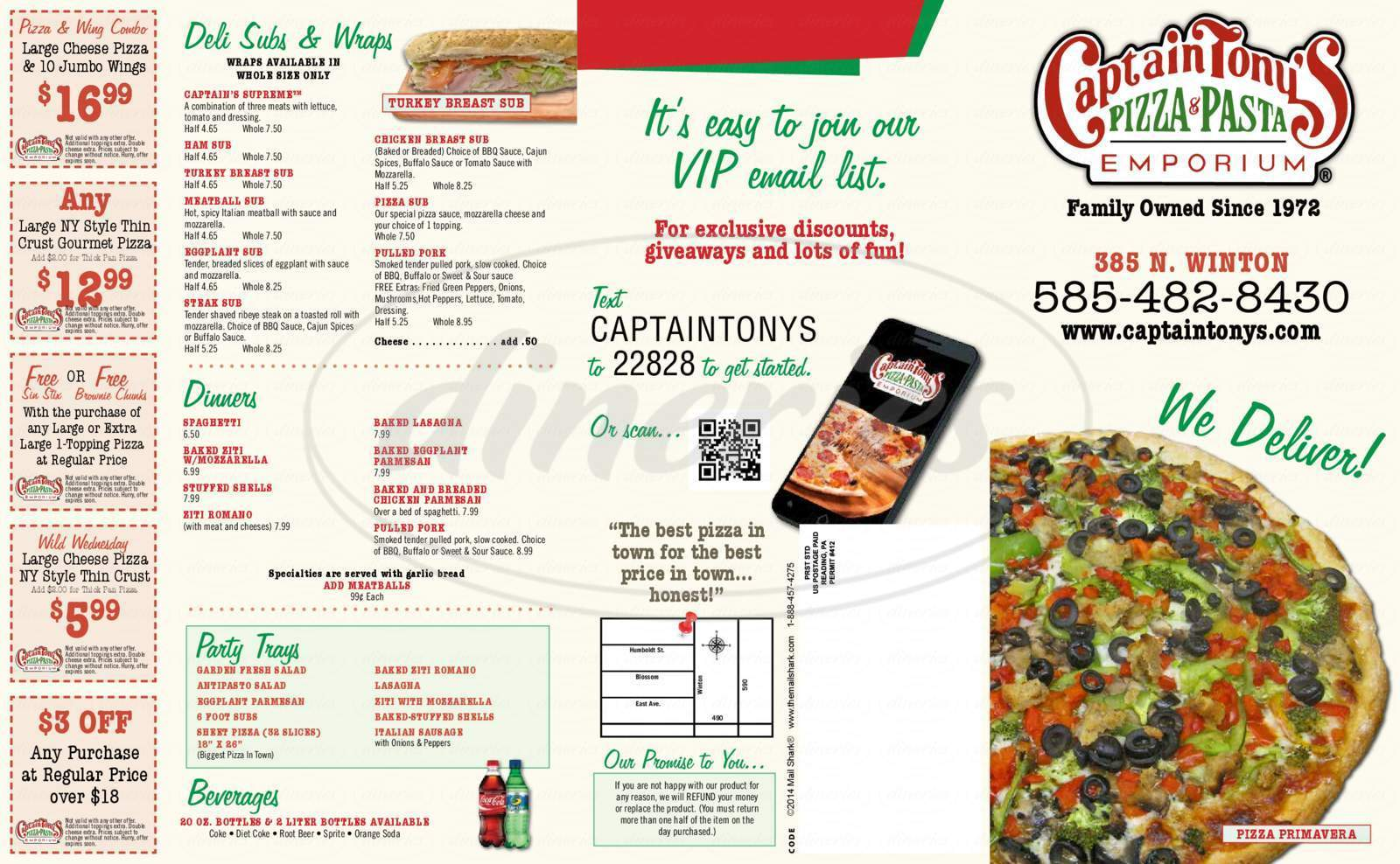 menu for Captain Tony's Pizza