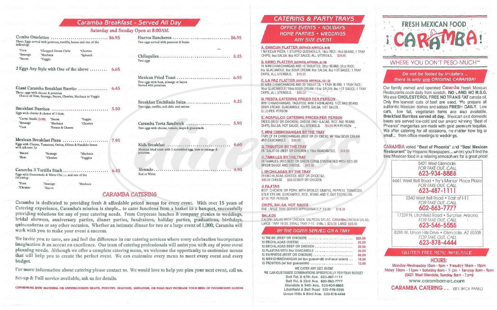 menu for Caramba Fresh Mexican Food
