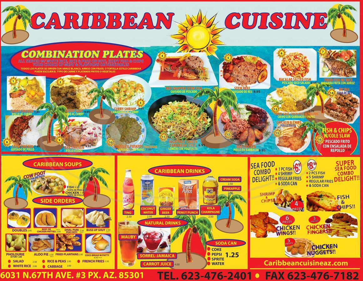 menu for Caribbean Cuisine