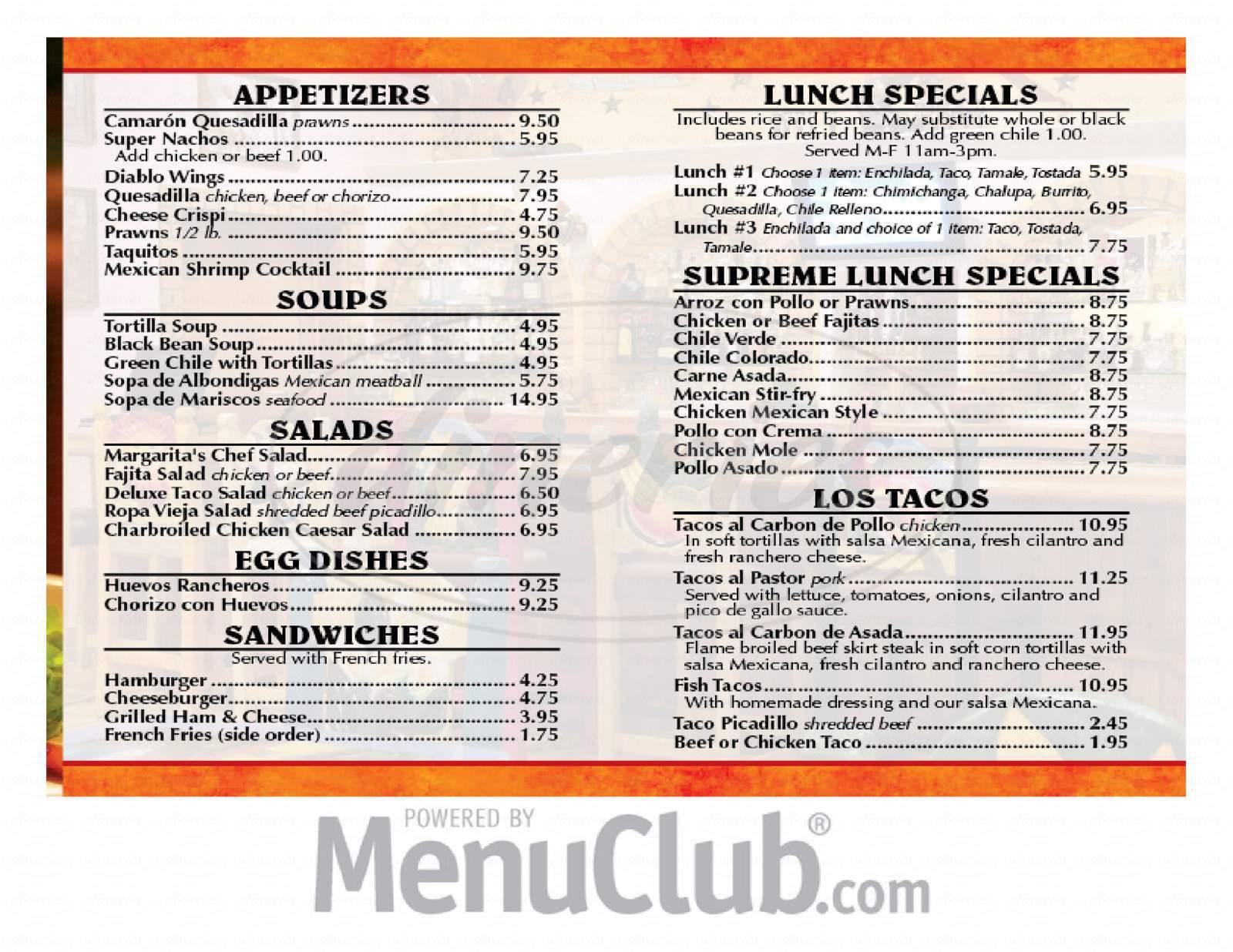 menu for Casa Bonita