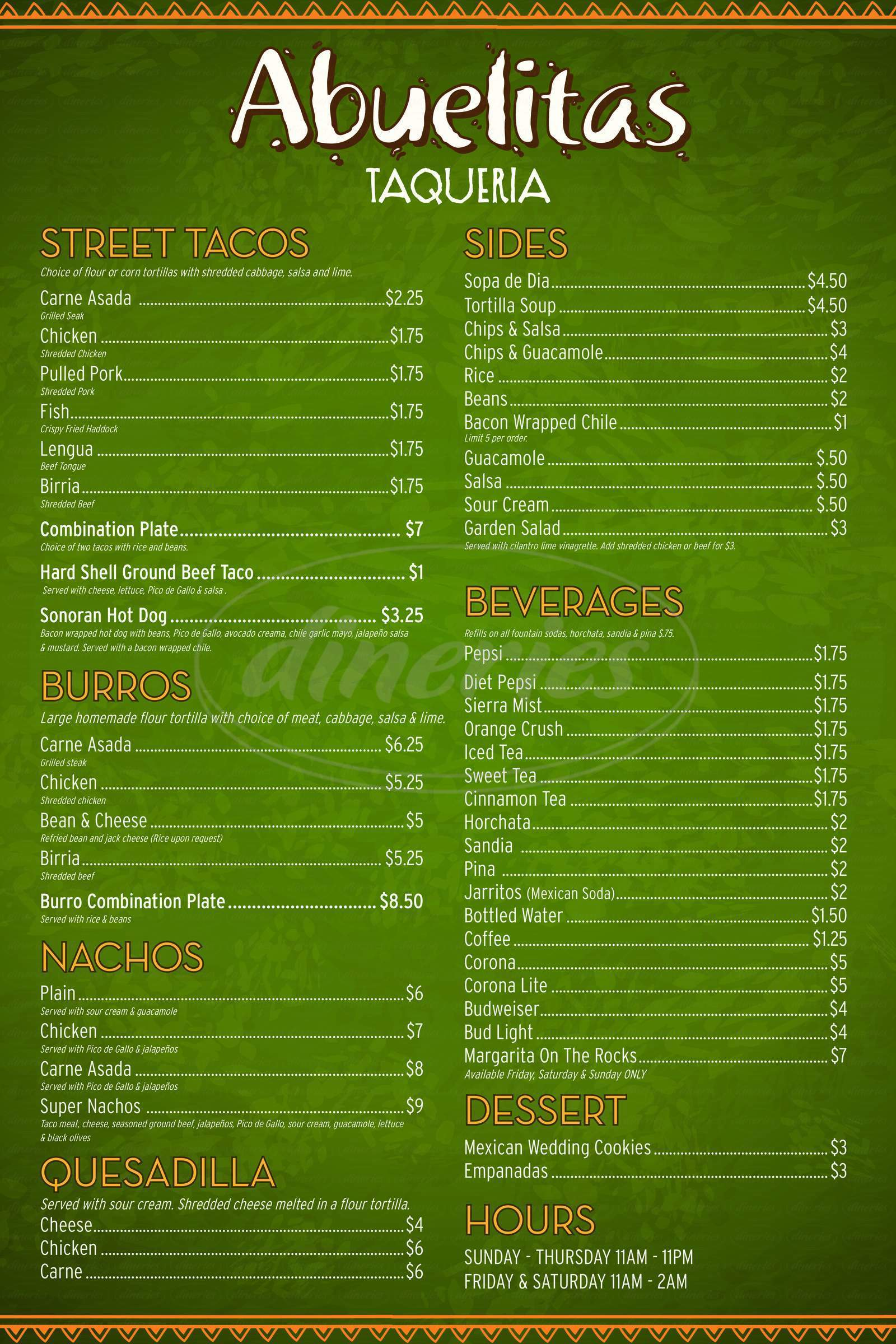 menu for Abuelitas Taqueria