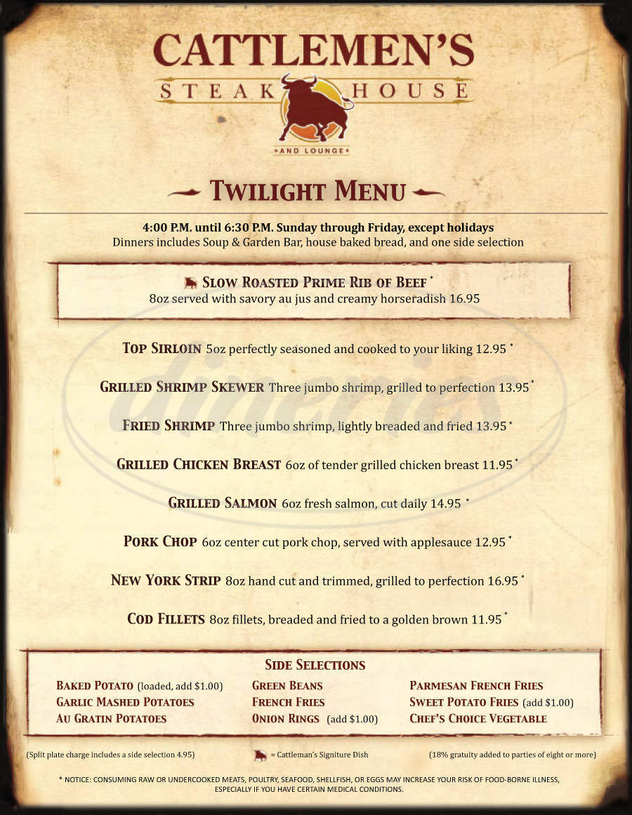 menu for Cattlemen's Steakhouse
