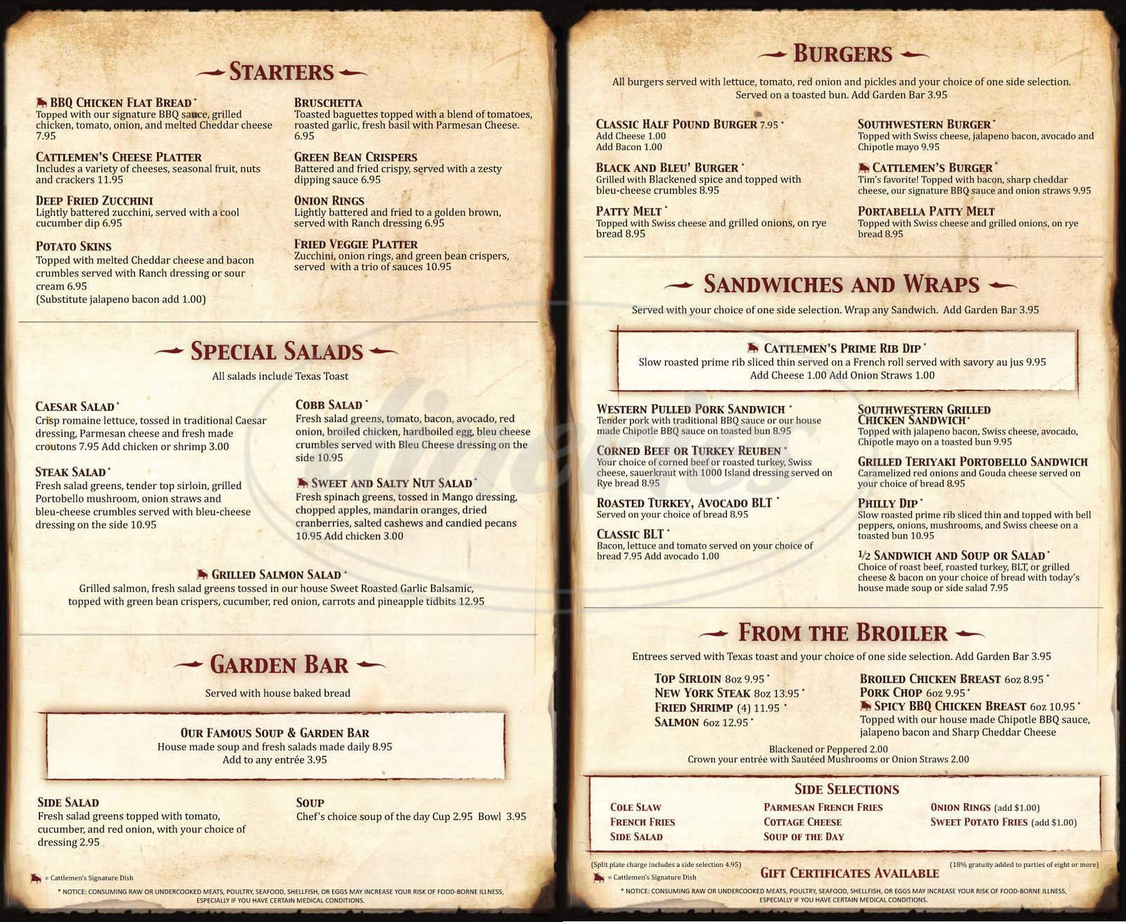 menu for Cattlemen's Steakhouse
