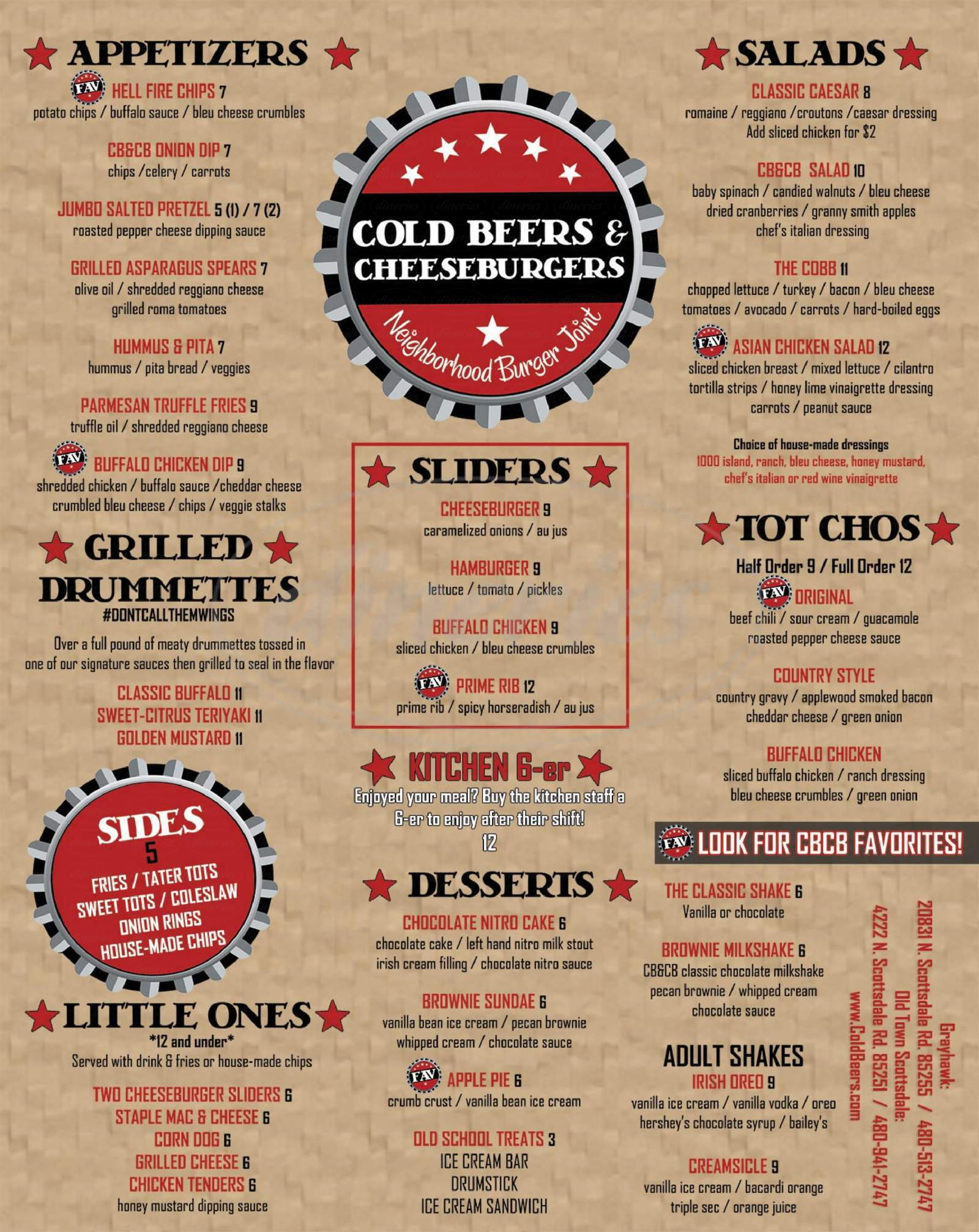 menu for Cold Beers & Cheeseburgers
