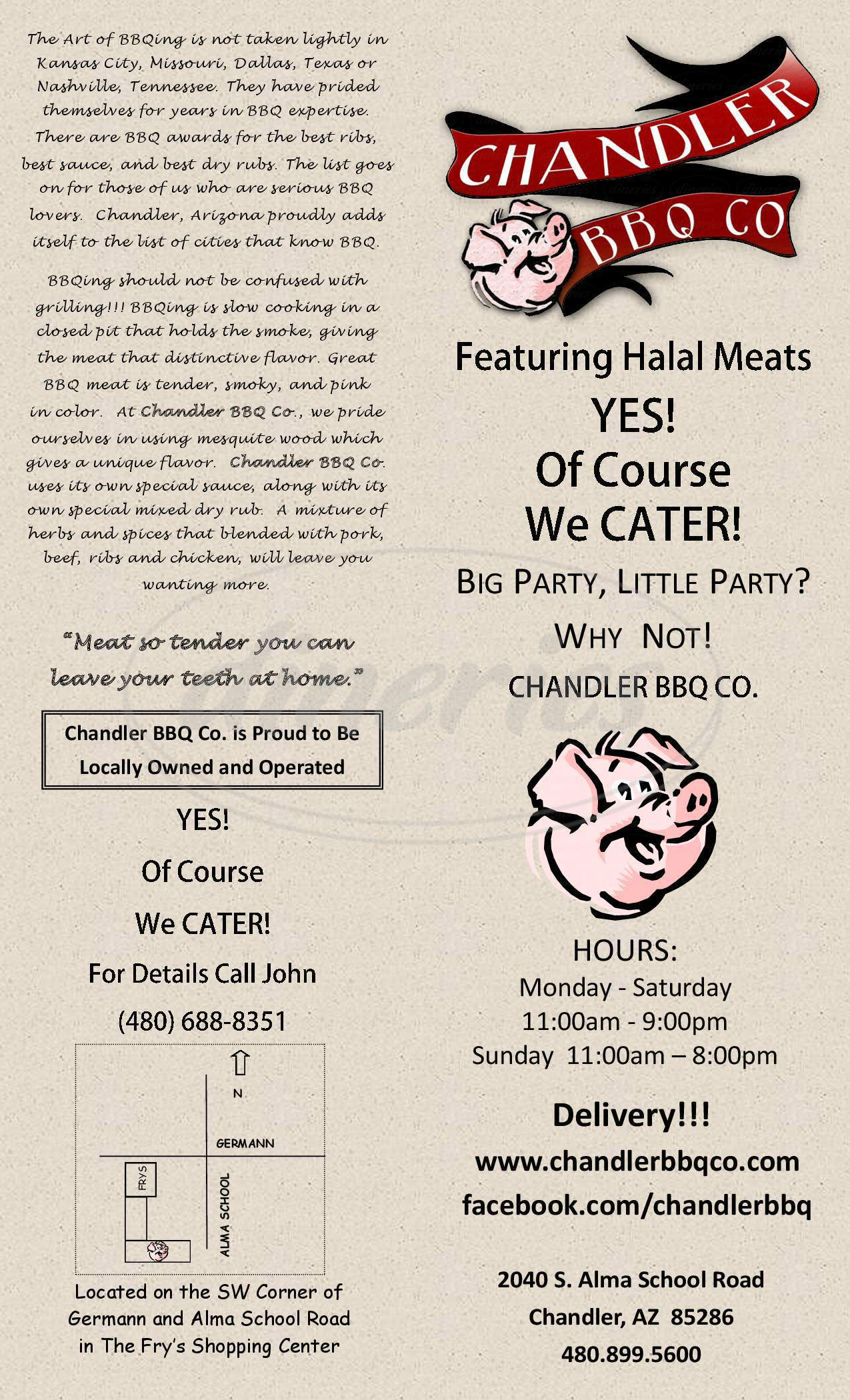 menu for Chandler BBQ Company
