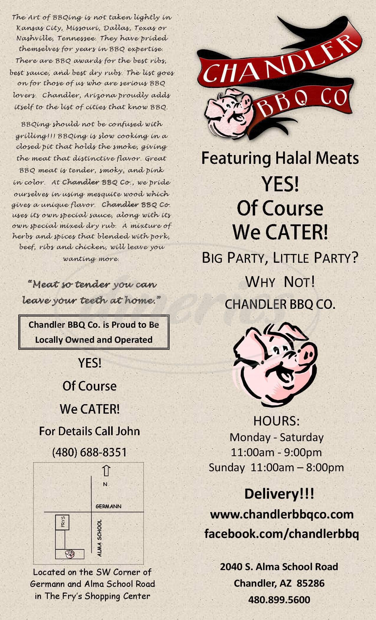 menu for Chandler BBQ Company