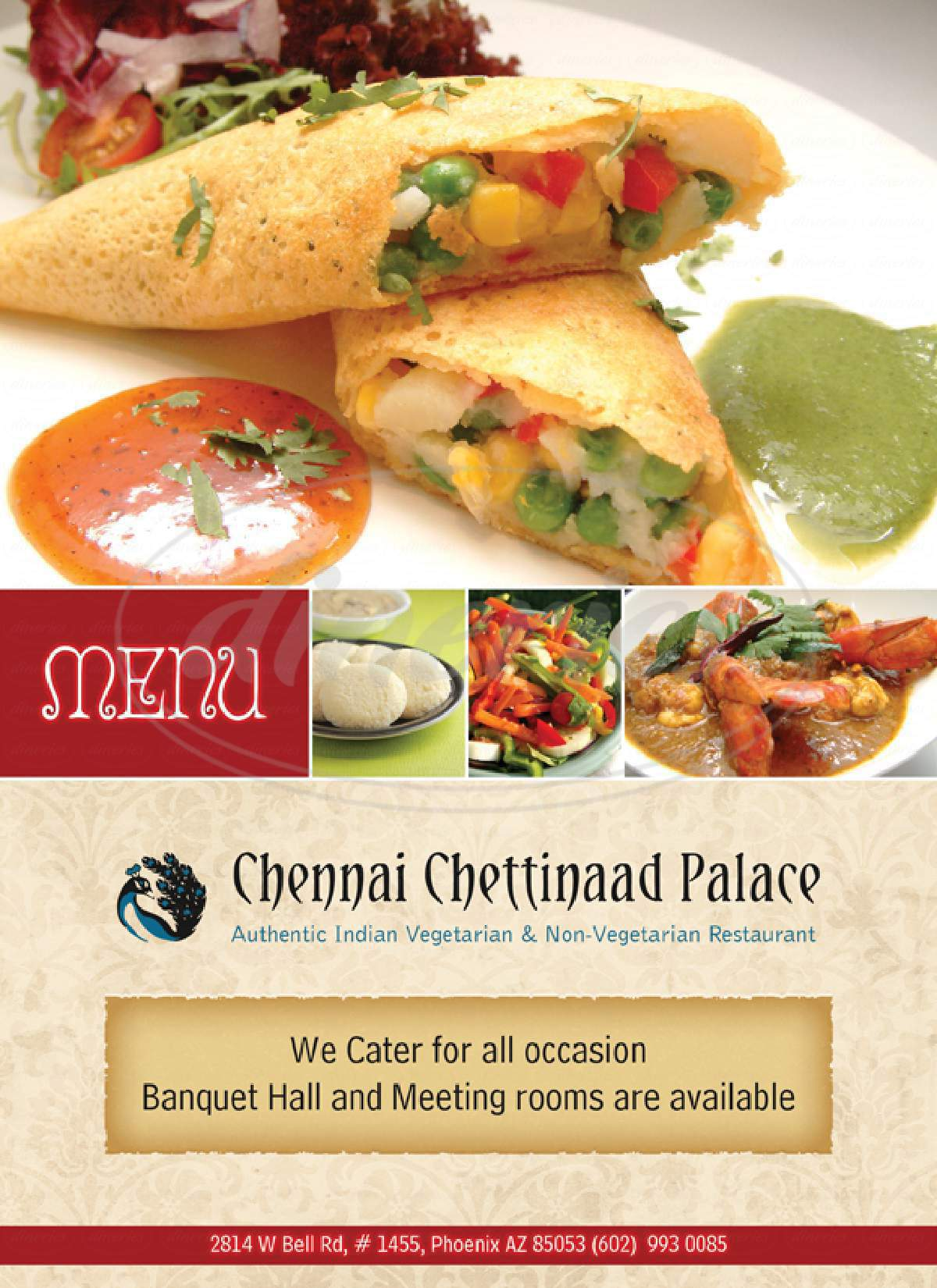 menu for Chennai Chettinaad Palace