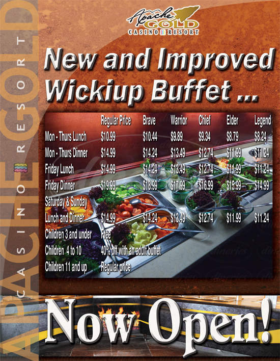 menu for Apache Grill and Wickiup Buffet