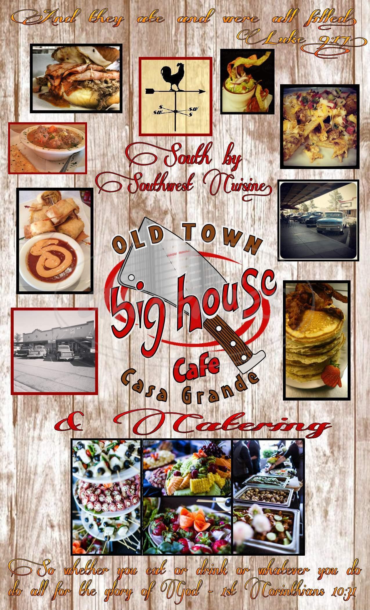 menu for Big House Cafe