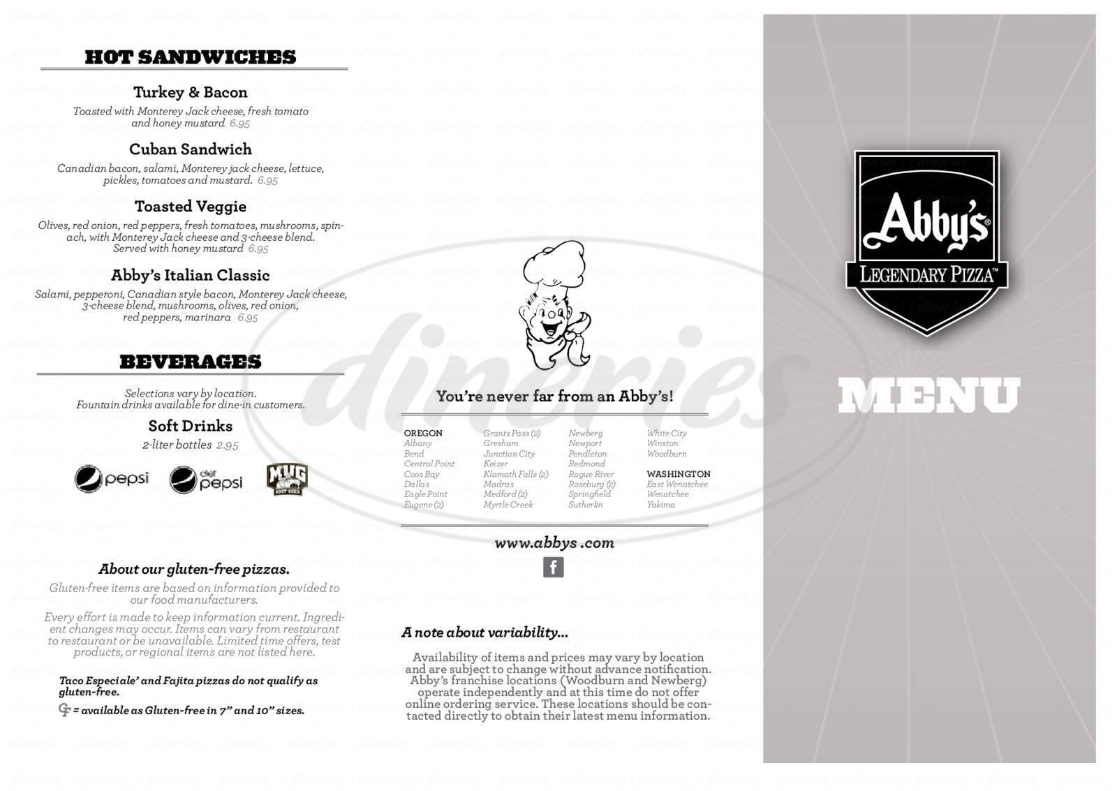 menu for Abby's Pizza