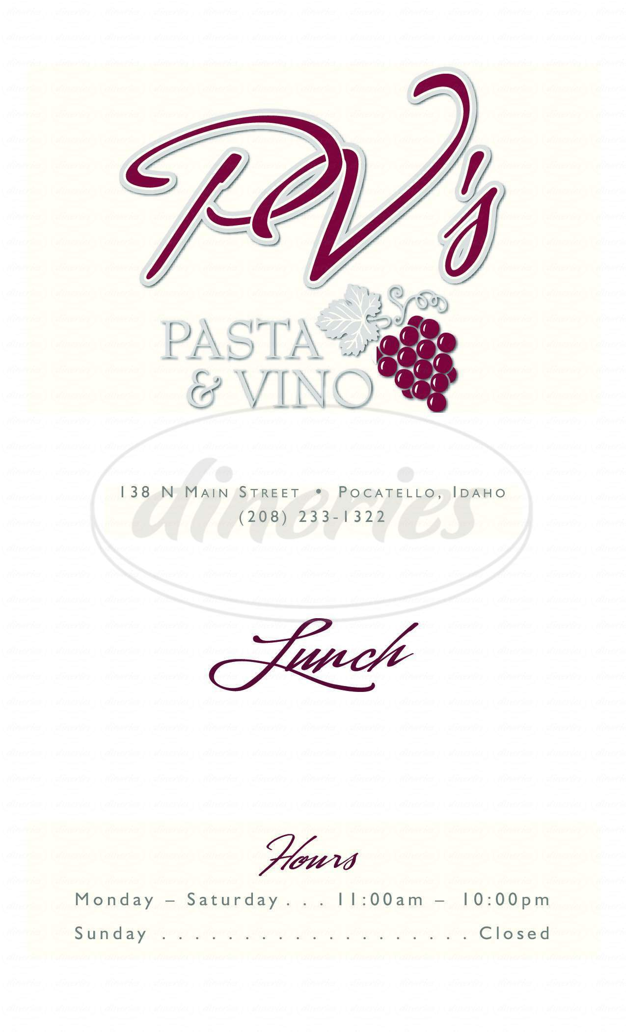 menu for PV's Pasta & Vino