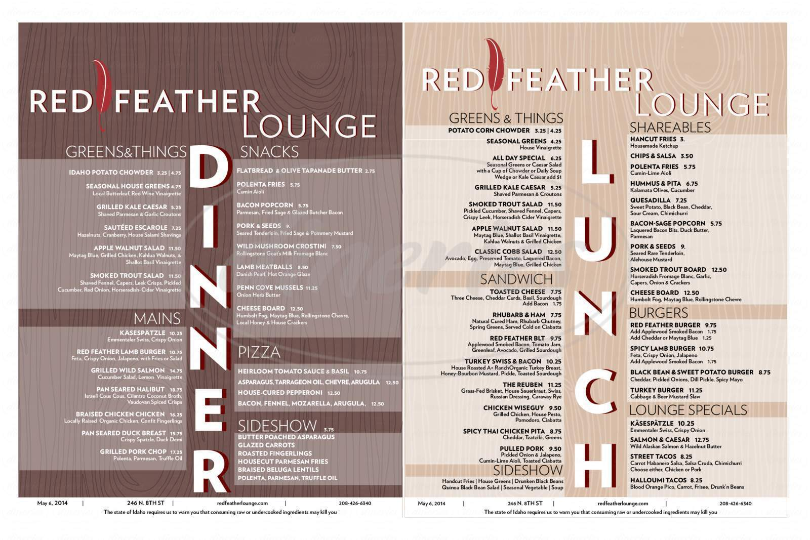 menu for Red Feather Lounge