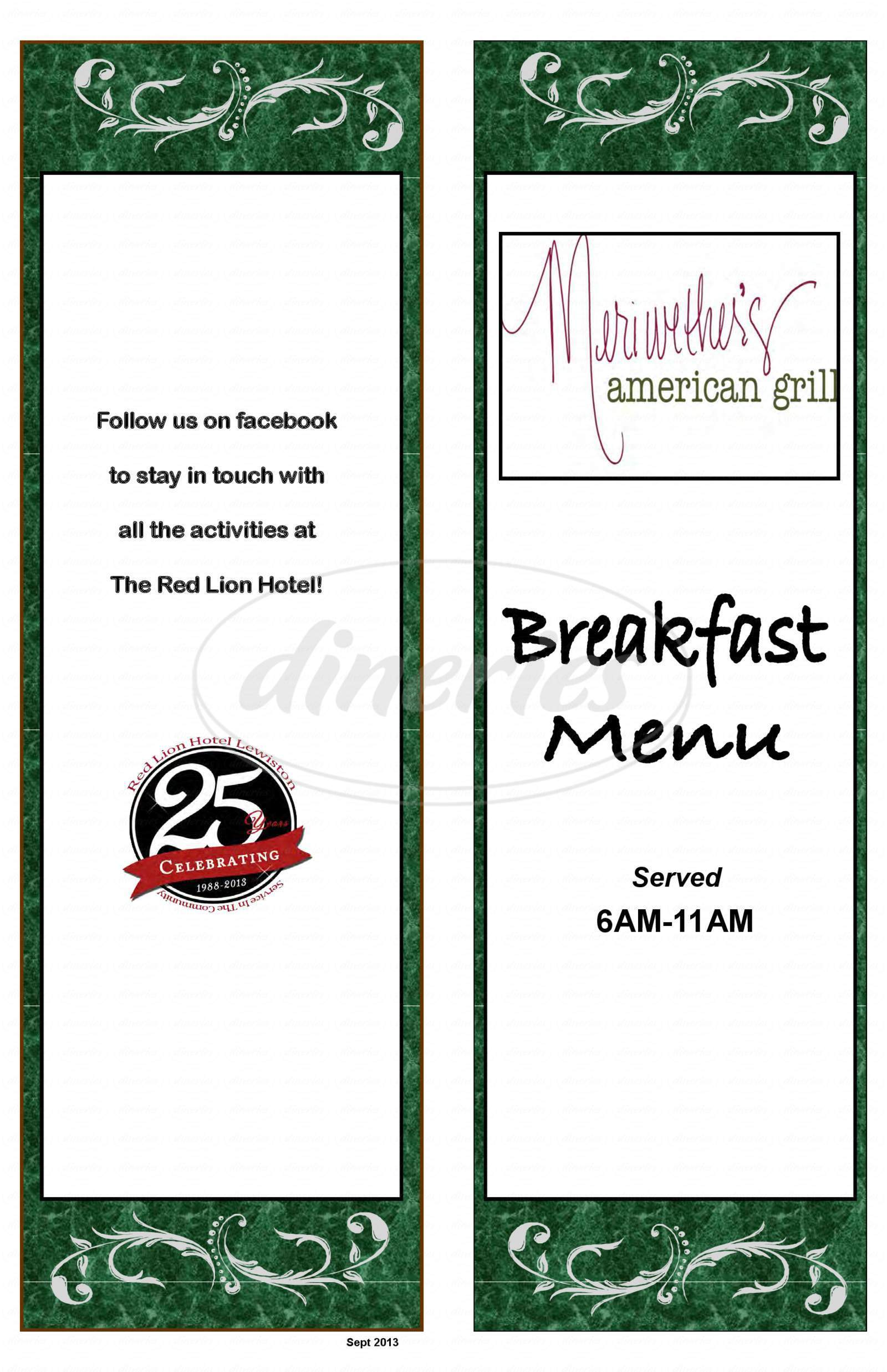 menu for Meriwether's Bar & Grill