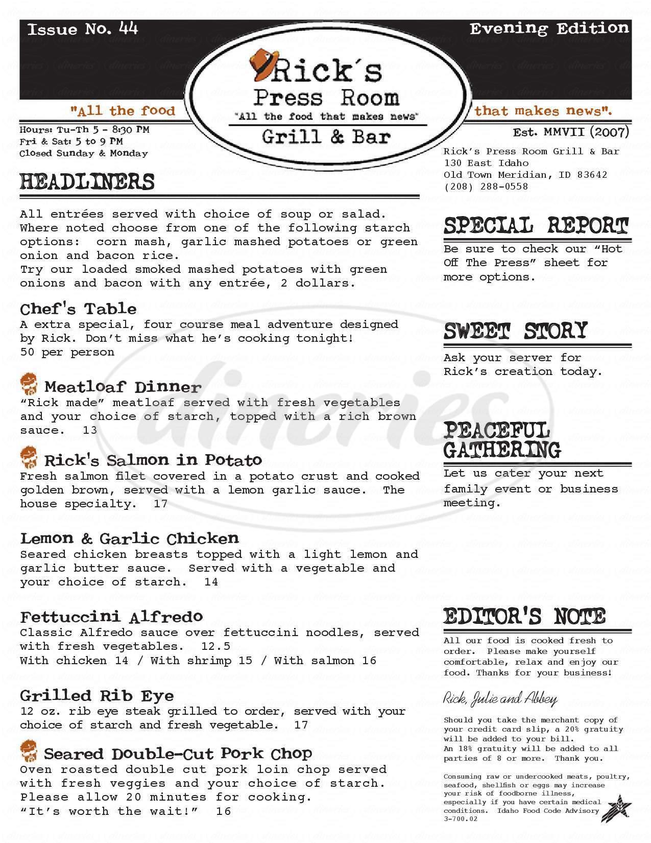 menu for Rick's Press Room Grill & Bar