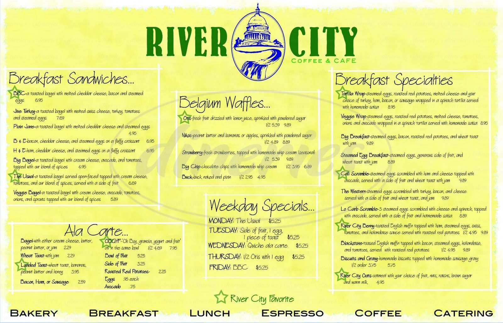 menu for River City Coffee & Cafe