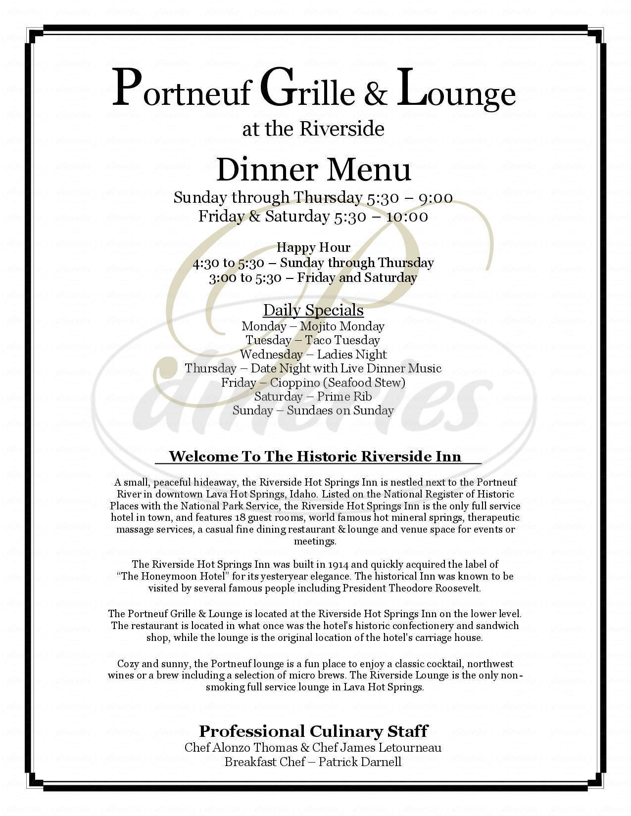 menu for Portneuf Grille & Lounge