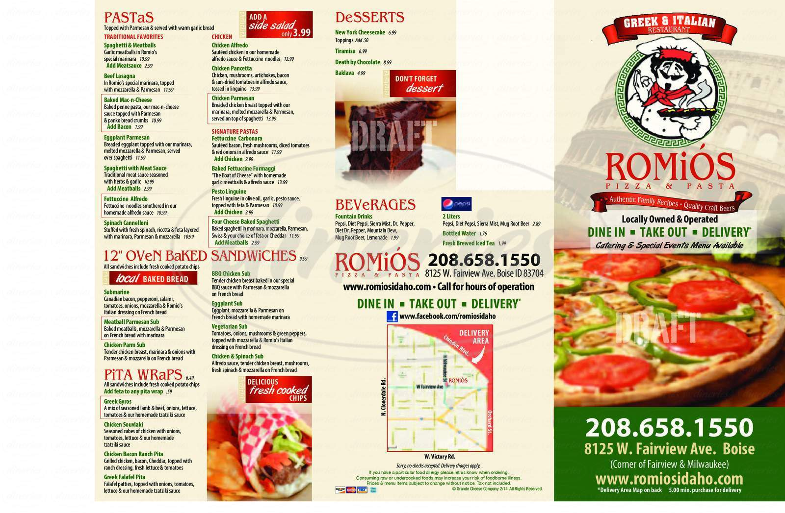 menu for Romio's Pizza & Pasta