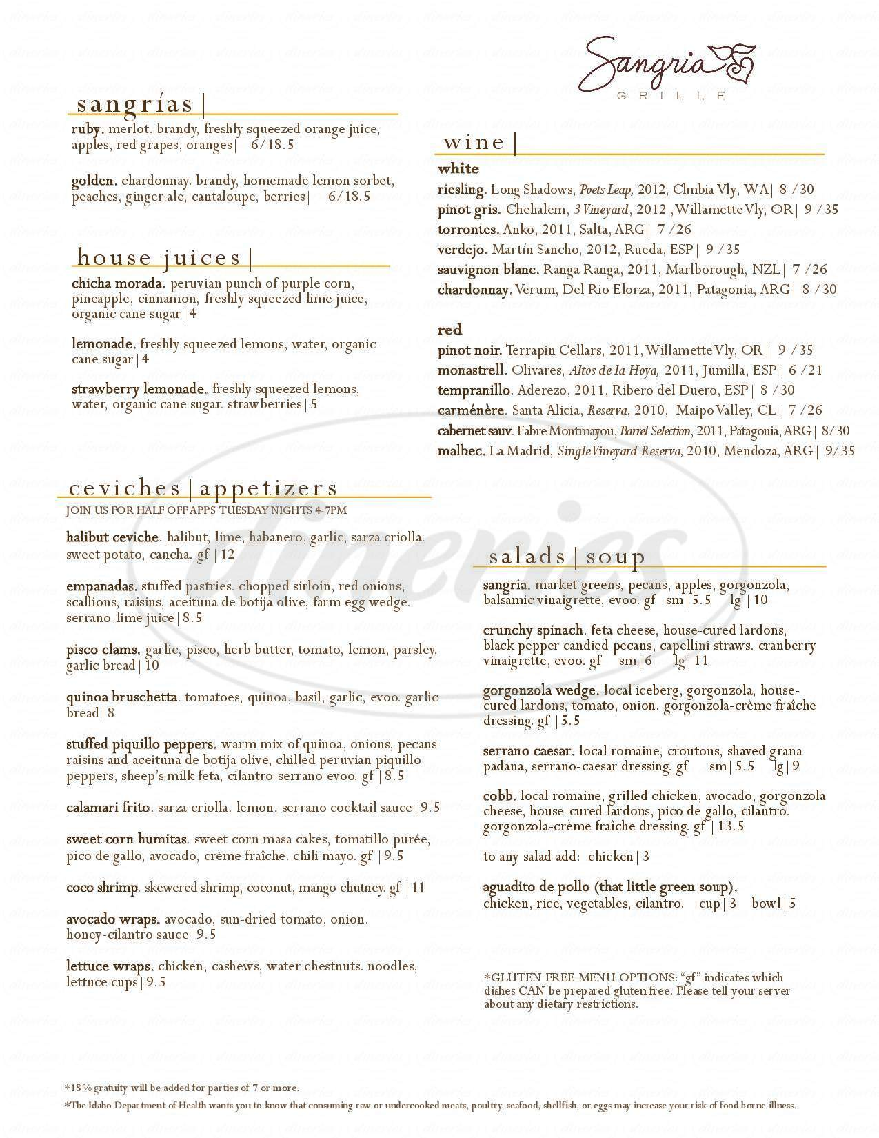 menu for Sangria Grille