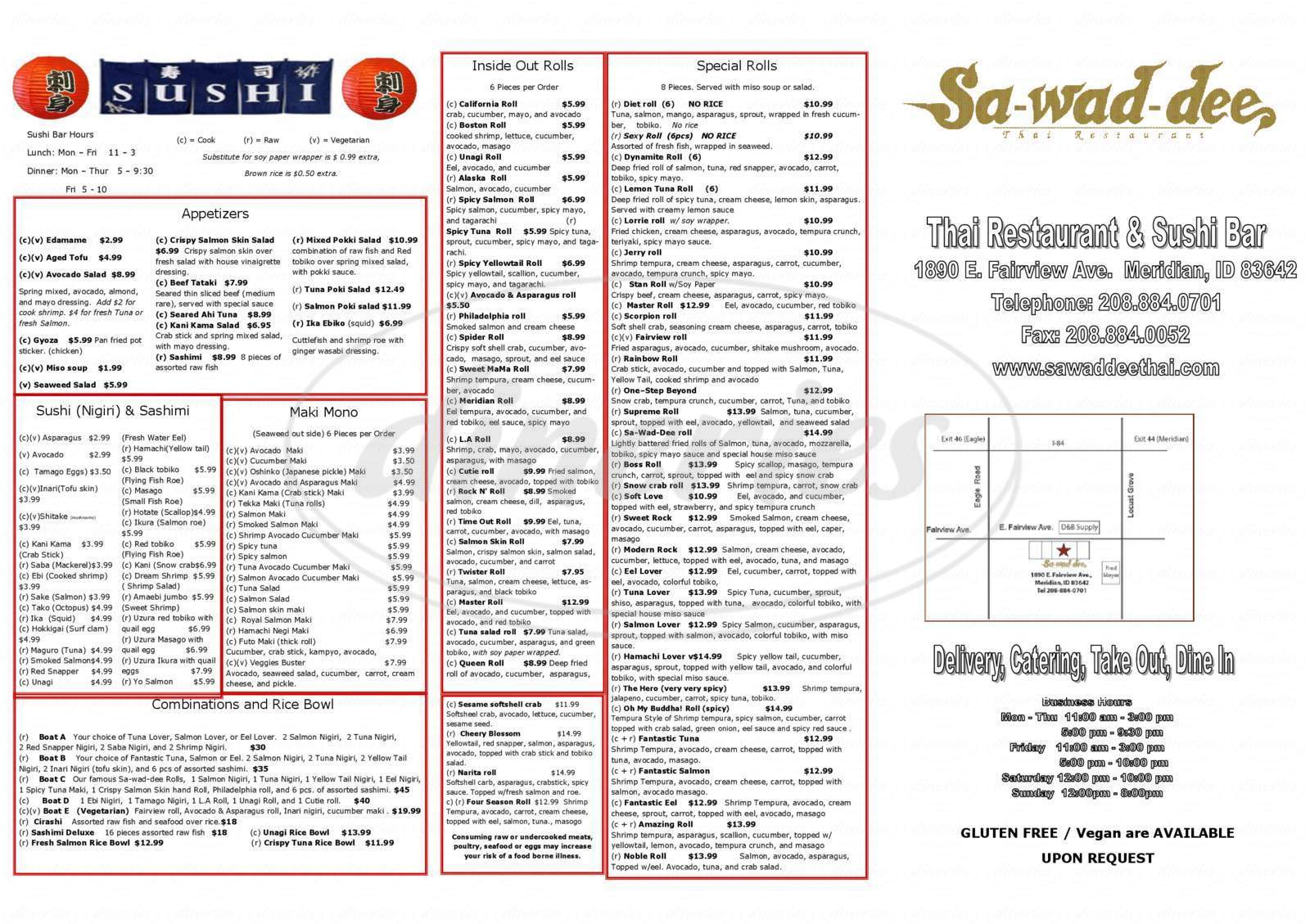 menu for Sa-Wad-Dee Thai Restaurant
