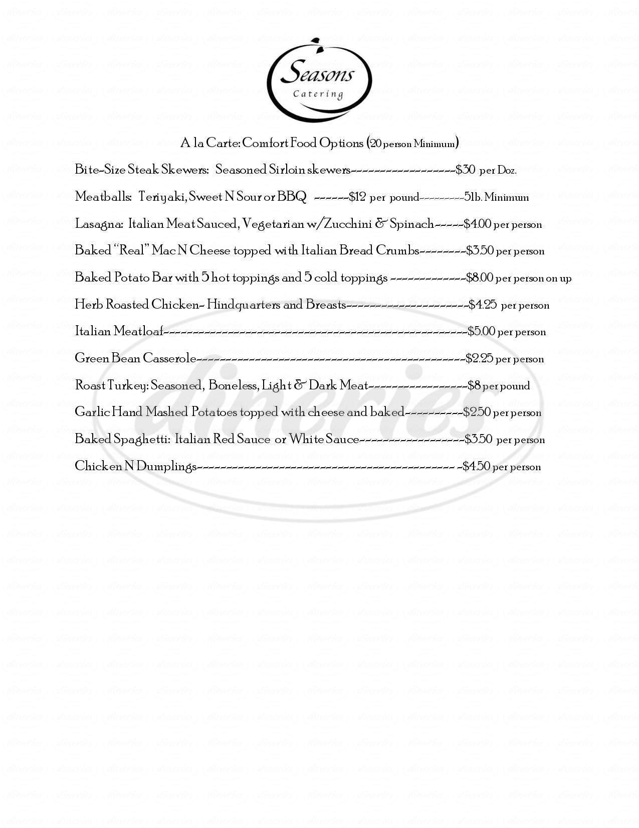 menu for Seasons Bistro and Catering