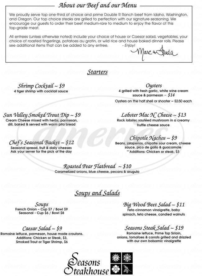 menu for Seasons Steakhouse, LLC