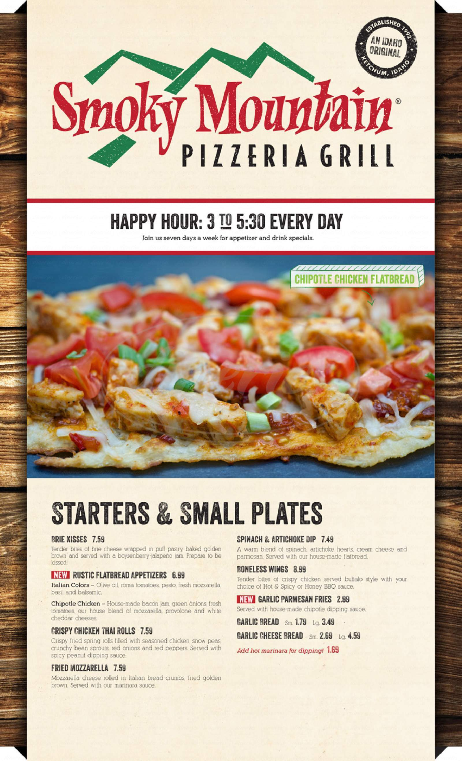menu for Smoky Mountain Pizzeria Grill
