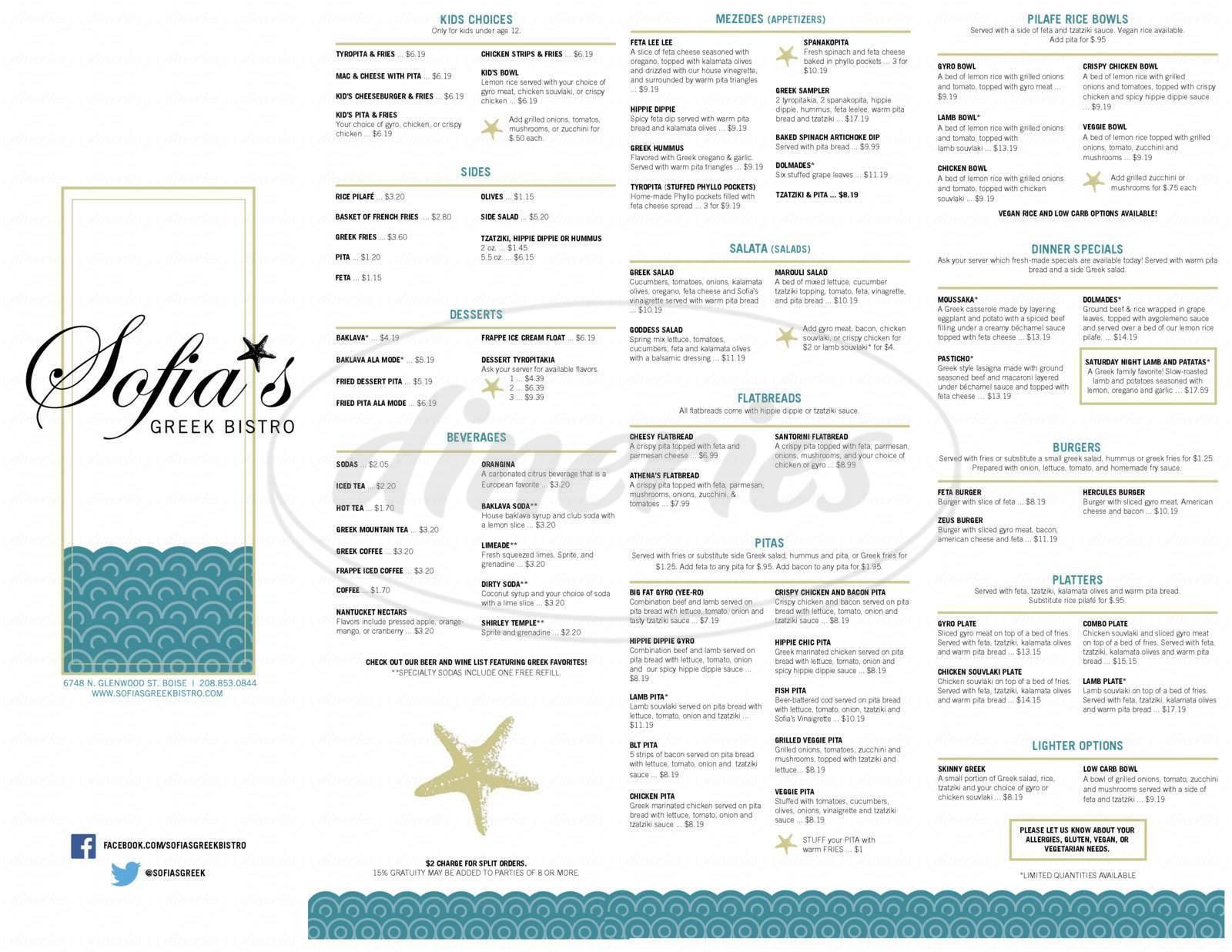menu for Sofia's Greek Bistro