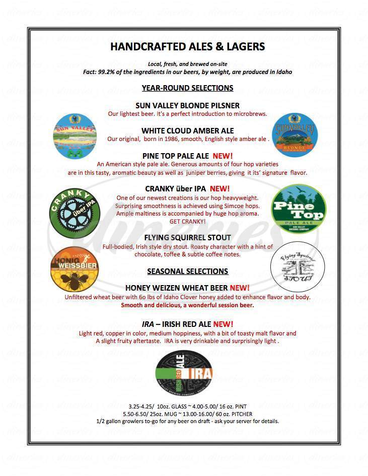 menu for Sun Valley Brewing Company
