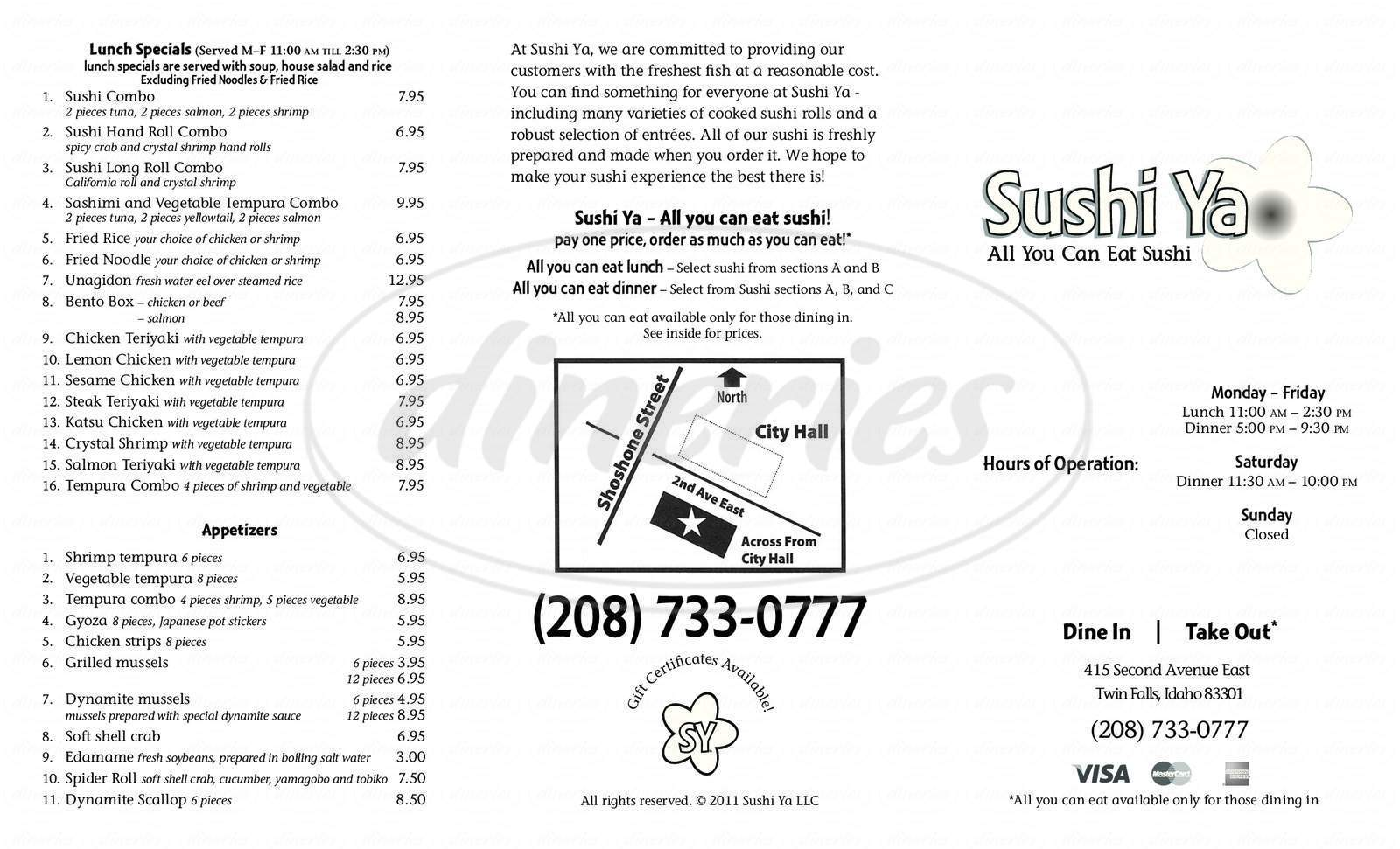menu for Sushi Ya